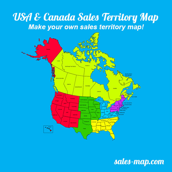 United States And Canada Sales Territory Map Editable Sales