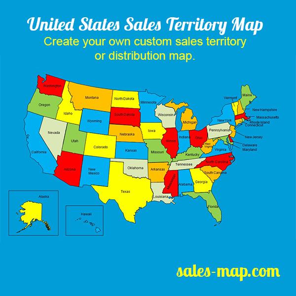USA Sales Territory Map Customizable | Editable Sales ...